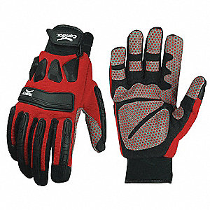 PVC Cut Resistant Gloves, ANSI/ISEA Cut Level 3 Lining, Black, Red, S, PR 1