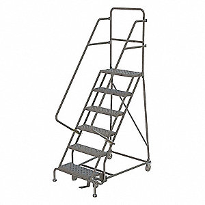"6-Step Rolling Ladder, Perforated Step Tread, 96"" Overall Height, 450 lb. Load Capacity"