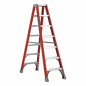 Twin Stepladder,7 ft.,Fiberglass,300 lb.