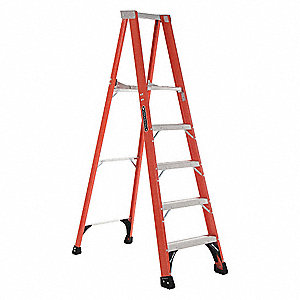 "Fiberglass Platform Stepladder, 6 ft. 8"" Ladder Height, 4 ft. 9"" Platform Height, 375 lb."
