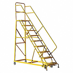 "9-Step Rolling Ladder, Perforated Step Tread, 126"" Overall Height, 450 lb. Load Capacity"