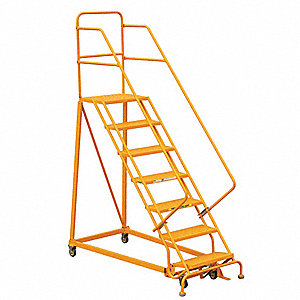 "Rolling Ladder,Steel,106"" H,Yellow"