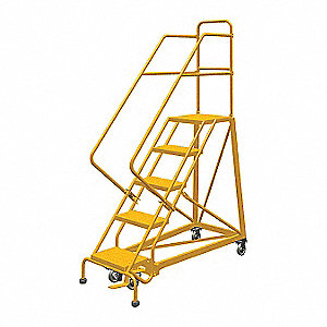 "5-Step Rolling Ladder, Perforated Step Tread, 86"" Overall Height, 450 lb. Load Capacity"