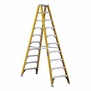 Twin Stepladder,10 ft.,Fiberglass,375lb.
