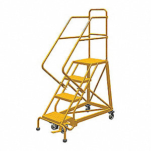 "4-Step Rolling Ladder, Perforated Step Tread, 76"" Overall Height, 450 lb. Load Capacity"