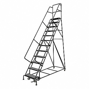 "12-Step Rolling Ladder, Perforated Step Tread, 156"" Overall Height, 450 lb. Load Capacity"