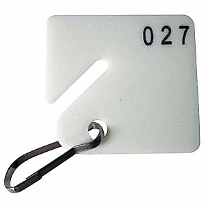 "1-1/2"" x 1-5/8"" Square-Slotted Key Tag Numbered 101 to 200, White; PK100"
