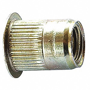 Steel Knurled Rivet Nut 17.530mm L, M8-1.25 Dia./Thread Size, 10 PK