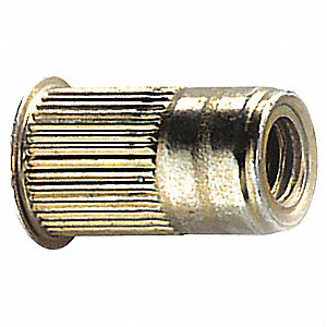 "Steel Knurled Rivet Nut 0.475"" L, #10-32 Dia./Thread Size, 25 PK"