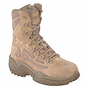 "8""H Men's Military Boots, Plain Toe Type, Suede Leather/Ballistic Nylon Upper Material, Tan, Size 10"