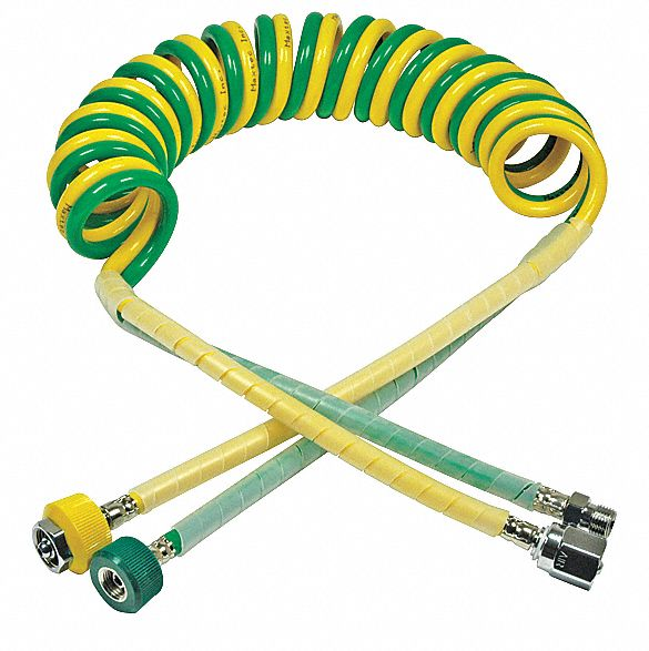 Air and Oxygen Dual Coil Hose, 10 ft, For Use With Blenders