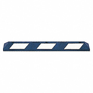 Parking Curb,36 In,Blue/White,Rubber