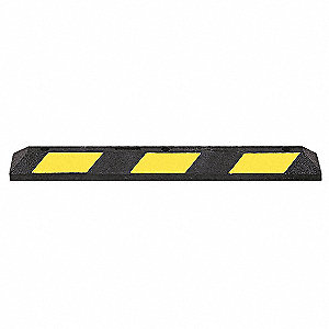 Parking Curb,36 In,Black/Yellow,Rubber