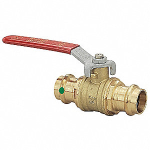 "Bronze, Brass Press x Press Ball Valve, Lever, 1"" Pipe Size"