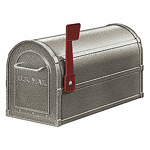 Rural Mailbox,Deluxe,Pewter