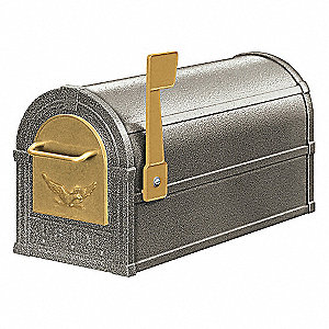 Rural Mailbox,Eagle,Pewter/Gold