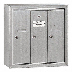 Vertical Mailbox, Surface, 3 Doors, Silver