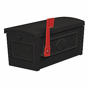 Townhouse Mailbox,Post Style,Black