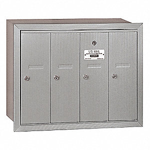 Vertical Mailbox,Recessed,4 Doors,Silver