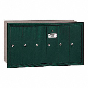 Vertical Mailbox,Recessed,6 Doors,Green