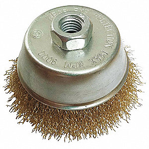 CUP BRUSH,6DIA,WIRE 0.02LN,RPM 9000