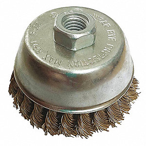 "2-3/4"" Crimped Wire Cup Brush, Arbor Hole Mounting, 0.020"" Wire Dia. 3/4"" Bristle Trim Length"