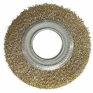"8"" Crimped Wire Wheel Brush, Arbor Hole Mounting, 0.006"" Wire Dia., 1-3/4"" Bristle Trim Length, 1 EA"