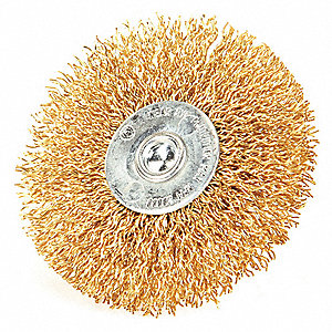 "Stem Wire Wheel Brush, Crimped Wire, 3"" Brush Dia."