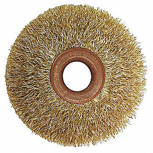 "1-1/2"" Crimped Wire Wheel Brush, Arbor Hole Mounting, 0.014"" Wire Dia., 3/8"" Bristle Trim Length, 1"
