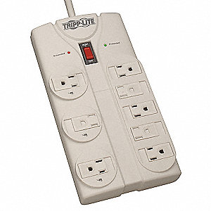 8 ft. Surge Protector Outlet Strip, Gray; No. of Total Outlets: 8