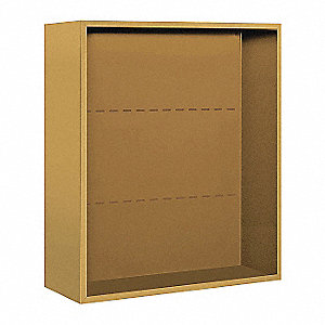 "32-1/4"" x 35-1/8"" Enclosure for Double Column 9 Door Horizontal Mailbox, Gold Powder Coated"