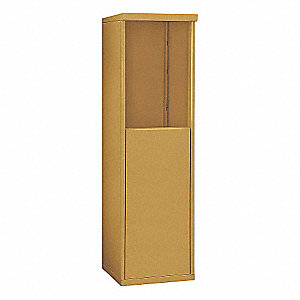 "17-1/2"" x 55-1/4"" Enclosure for Single Column 6 Door Horizontal Mailbox, Gold Powder Coated"