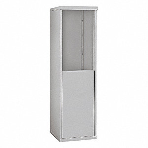 "17-1/2"" x 55-1/4"" Enclosure for Single Column 7 Door Horizontal Mailbox, Gray Powder Coated"