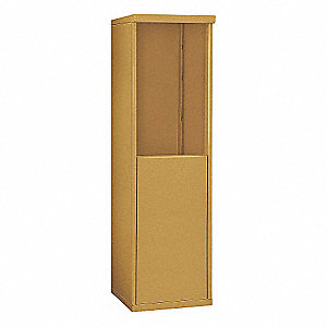 "17-1/2"" x 55-1/4"" Enclosure for Single Column 7 Door Horizontal Mailbox, Gold Powder Coated"