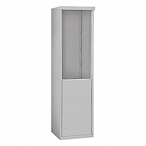 "17-1/2"" x 62-1/4"" Enclosure for Single Column 9 Door Horizontal Mailbox, Gray Powder Coated"