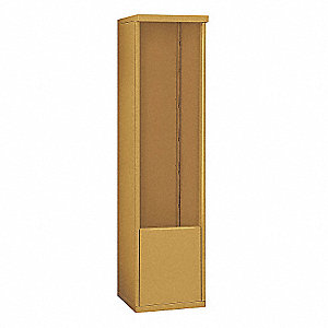 "17-1/2"" x 69-1/4"" Enclosure for Single Column 13 Door Horizontal Mailbox, Gold Powder Coated"