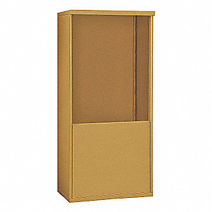"32-1/4"" x 65-3/4"" Enclosure for Double Column 10 Door Horizontal Mailbox, Gold Powder Coated"