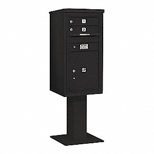 Pedestal Mailbox,3 Doors,Black,62-1/8in