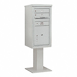 Pedestal Mailbox,3 Doors,Gray,62-1/8in