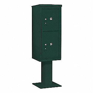 Pedestal Mailbox,2 Doors,Green,69-1/8in