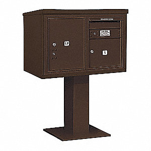 Pedestal Mailbox,2 Doors,Bronze,48-1/8in