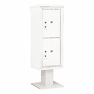 Pedestal Mailbox, 2 Doors, White, 59-3/4in