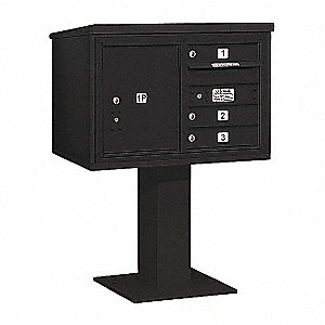 Pedestal Mailbox,4 Doors,Black,48-1/8in