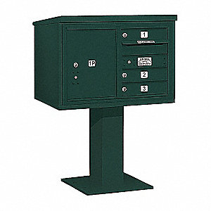 Pedestal Mailbox, 4 Doors, Green, 48-1/8in
