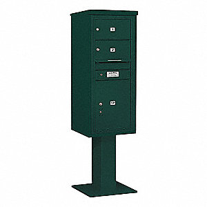 Pedestal Mailbox, 3 Doors, Green, 69-1/8in