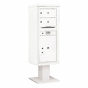 Pedestal Mailbox, 3 Doors, White, 59-3/4in