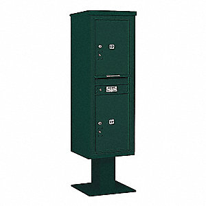 Pedestal Mailbox,2 Doors,Green,66-3/4in