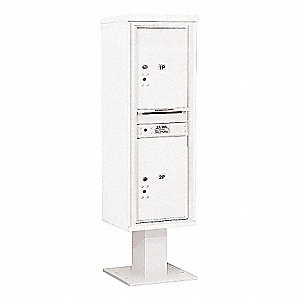 Pedestal Mailbox,2 Doors,White,66-3/4in