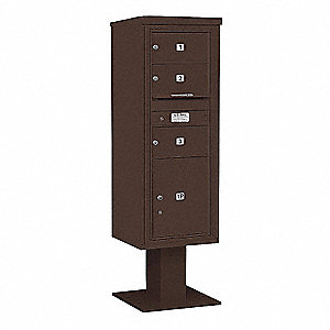Pedestal Mailbox,4 Doors,Bronze,63-1/4in