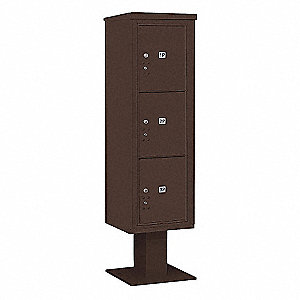 Pedestal Mailbox, 3 Doors, Bronze, 70-1/4in